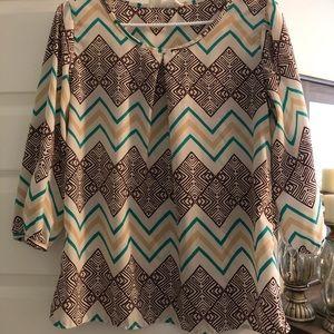 Peace love wish 3/4 length sleeve tunic top